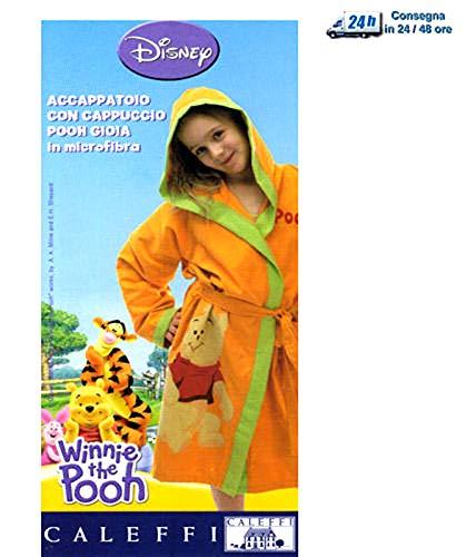 Winnie The Pooh - Albornoz con capucha y bolsillos de microfibra + bolsa para la alegría de color naranja, talla 2/4 años (balanceante, apto para 4-5 años)