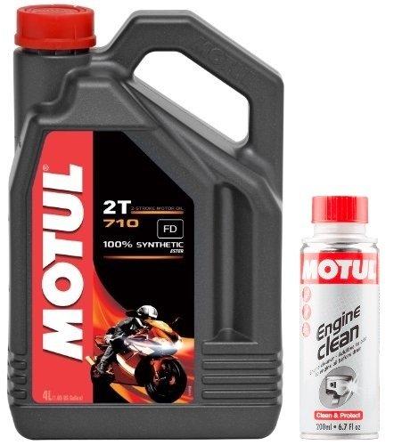 MOTUL Duo Aceite Moto 2Tiempos–1040357102T, 4L Engine Clean 200ML