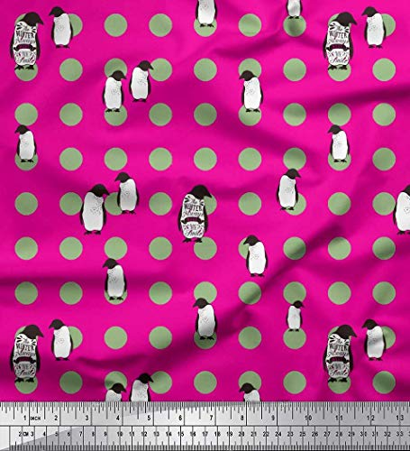 Soimoi Rose Mousse Georgette en Tissu Dot & Penguin Ocean Tissu Imprime 1 Metre 42 Pouce Large