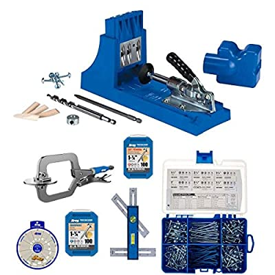 Kreg K4 Pocket Hole Jig with face clamp and screw kit for Woodworking by VMTW Tool Picks