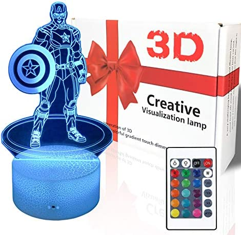 3D Illusion Captain America Night Lights for Kids 16 Colors 7 Colors Changing with Touch Remote product image