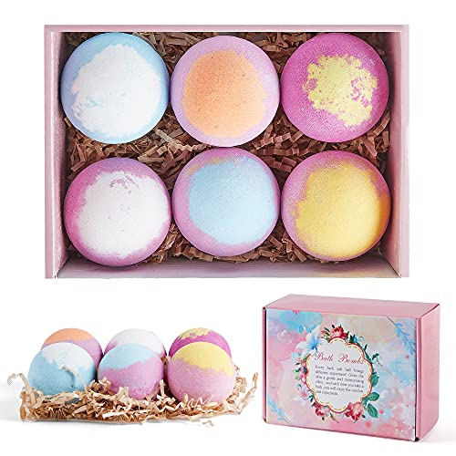 Bath Bombs Gift Set, 6pcs Fizzies Spa Kit with Pure Essential Oils, Coconut Oil, Sea Salt, and Shea Butter, Kid Safe, Best Christmas & Birthday Gift