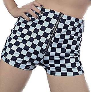 Checkerboard Women's High Waisted Shorts Skater Punk 80's Fast Times Raceway Streetwear