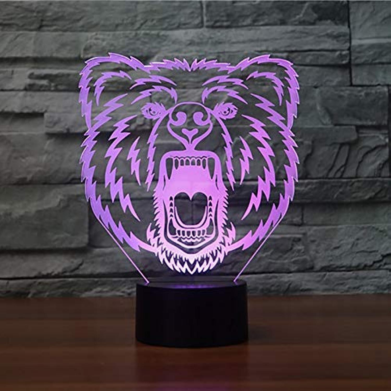 Mozhate 3D Led Visuelle Wohnkultur Schlafzimmer Br Kopf Tischlampe 7 Farben Nachtlicht Nachttischlampe Lampara Leuchte Geschenke,Remote und berühren