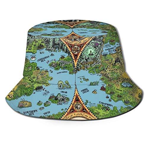 ONLED Sombrero de cubo plegable reversible, diseño de mapa de las tierras de los sueños, sombrero, sombrero de pescador, gorra de pesca, safari para hombres y mujeres, color negro