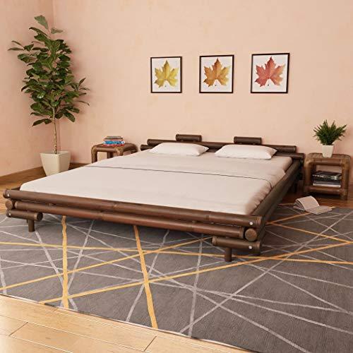 Festnight Bambusbett 180x200 cm, Bettgestell mit Lattenrost, Bambus Bett Futonbett Doppelbett Holzbett, Dunkelbraun