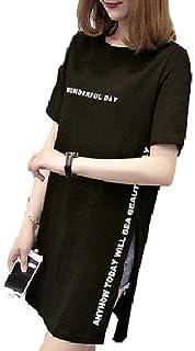 [レリカ] ゆったり 半袖 Tシャツ ロング ミニ ワンピース レディース