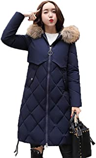 Missroo Women Winter Down Long Hoodie Thicken Coat Solid Big Fur Collar Cotton Outerwear