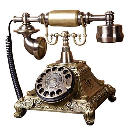 DNSJB telefono Fijo Disco de Disco Giratorio Teléfono Retro - Clásico Vintage Estilo Antiguo Dial Giratorio Mesa de Escritorio Oficina en casa Cable en Espiral Teléfono