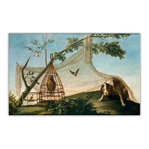 FACAIA Francisco Goya – Caça com um chamariz – Quadro de arte em tela com pintura a óleo – 60 x 90 cm sem moldura