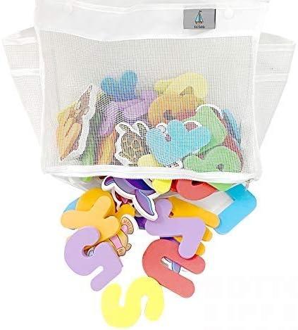 Bathtub Toy Organizer Bath Toys Organizer Holder with 4 Suction Sticker Hooks Two Side Pockets product image