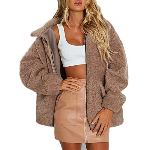 MINIKIMI mantel dames grote maten met teddyvoering pluche jack super warme wintermantel pluche dikke cardigan parka met tas