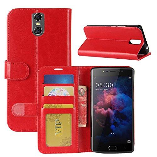 HualuBro DOOGEE BL7000 Hülle, Premium PU Leder Leather Wallet HandyHülle Tasche Schutzhülle Hülle Flip Cover mit Karten Slot für Doogee BL7000 5.5 Inch Smartphone (Rot)