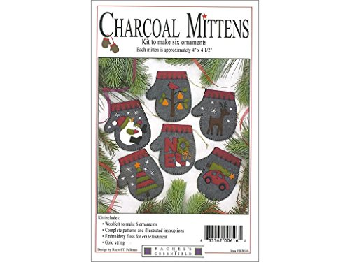 Rachel's of Greenfield Charcoal Mittens 4 x 4.5 Inches Felt Applique Christmas Ornament Kit (Set of 6) Charcoal K0616