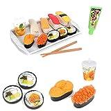 UMKYTOYS Pretend Play Sushi-Essens-Tablett für Kinder, Jungen, Mädchen, Spielküche, Essens-Set und Zubehör