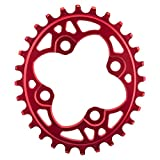 Absolute Black 104 Oval chainring 64BCD 28T - red by ABSOLUTE BLACK