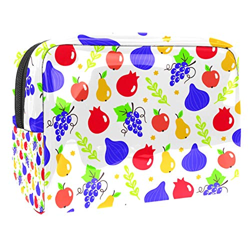 Bolsa de maquillaje portátil con cremallera bolsa de aseo de viaje para mujeres práctico almacenamiento cosmético Shavuot frutas y estrellas judías