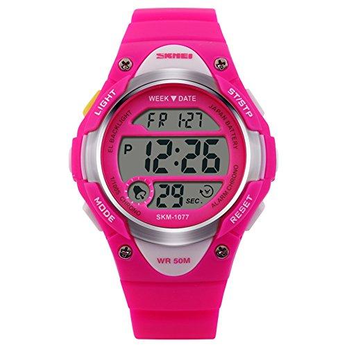 Novelty Digital Kids Watch Outdoor Sports Children's Waterproof Wrist Dress Watch with LED Digital Alarm Stopwatch Lightweight Silicone Rose Red