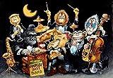 VGFTP Puzzle 1000 Piezas, Rompecabezas de descompresión de Madera, Rompecabezas Rompecabezas de descompresión Infantil para Adultos Pintura para el hogar -Animal Jazz Band Cartoon