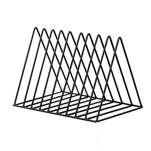 File Organizer Triangle Eisen Desktop Storage Buch Rack-Bücherregal aus Metall Magazin Zeitungshalter für Office Home - Schwarz