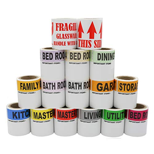 """Moving Labels -800 Color Coded 16 Rolls – 50 Labels Par Roll - with Fragile Stickers 