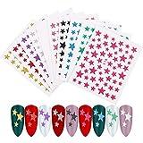 Xinstroe 10 Fogli Telle di Adesivi Adesivi per Unghie Stelle Stickers Adesivi Unghie Nail Art Stella Adesivi Glitterati Decorazioni Unghie Adesive Colori Assortiti Fai da Te Arte Unghie