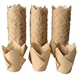 Tulip Cupcake Liners-300 Pack Tulip Cupcake Wrappers Greaseproof Muffin Liners Baking Cups For Birthday,Party,Wedding- Natural Color