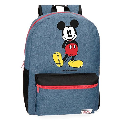 Disney Mickey Blue Backpack Adaptable to Trolley Blue 32x42x16 cms Polyester 21.5L