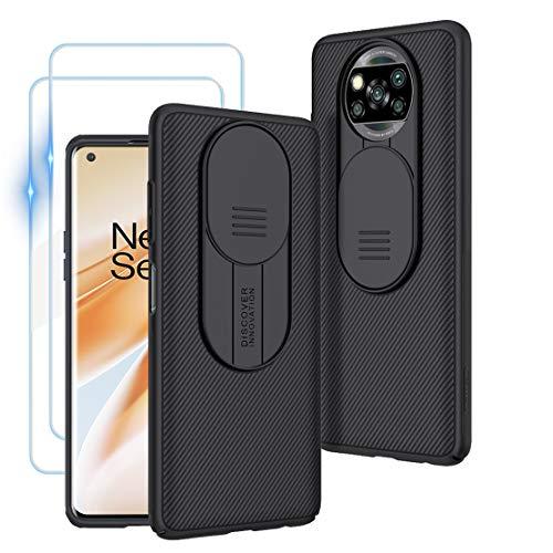 Custodia per Xiaomi Poco X3 NFC, Case CamShield [Protezione Fotocamera] Bumper Protettiva Ultra Sottile Leggero Design Scorrevole Anti Graffio Antiurto Rigido PC Cover con 2 Pack Vetro Temperato