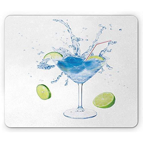 Wodka Soda Mouse Pad,Martini-Glascocktail Mit Gurkenkalk Auf Planem Hintergrund,Rutschfestes Gummi-Mousepad Mit Rechteck,Standardgröße,Avocado Green Sea Blue