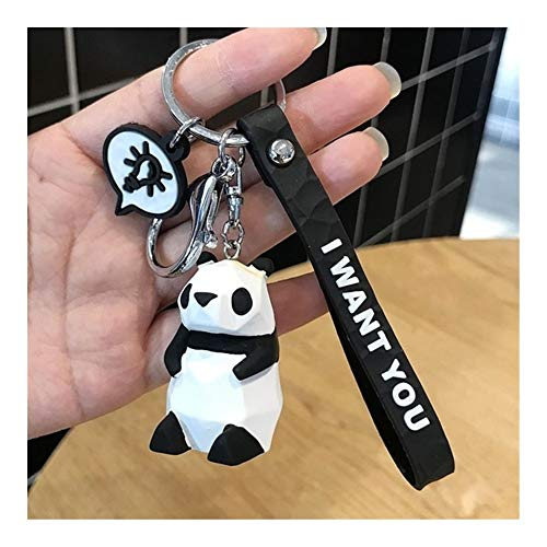 Lejia Creative Cartoon Geometric Faceted Dinosaur Panda Doll Keychain Couple Car Key Chain Backpack Hanging Gift 1pcs (Color : H04)