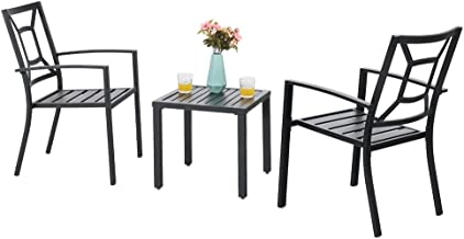 PHI VILLA Metal Outdoor Patio Bistro Furniture Set with 2 x Dining Chairs and 1 x Small Square Table, Black