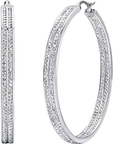 LOLIAS Orecchini a Cerchio Grandi da Donna in acciaio inossidabile Orecchini con Strass tono argento CZ