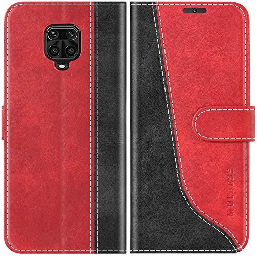 Mulbess Handyhülle für Xiaomi Redmi Note 9s Hülle Leder, Xiaomi Redmi Note 9s Handy Hüllen, Modisch Flip Handytasche Schutzhülle für Xiaomi Redmi Note 9s / Note 9 Pro/Note Pro Max, Wine Rot