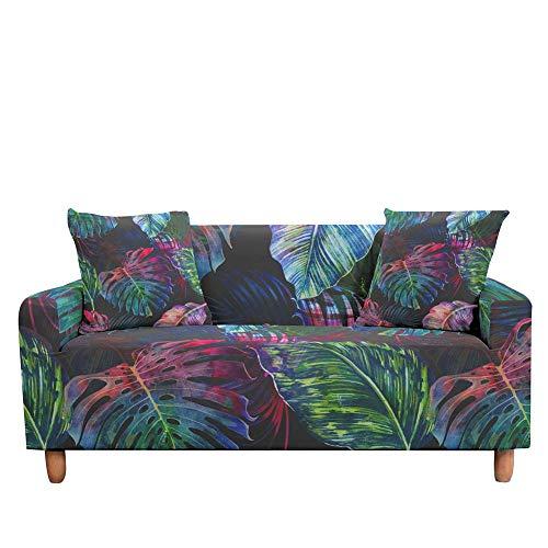 Funda de sofá elástica de Hojas Tropicales para Sala de Estar, Fundas de Hoja de Palmera elásticas, Funda de sofá para sillón, decoración A6, 3 plazas