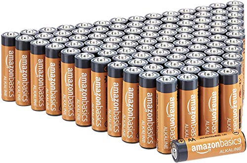Amazon Basics 100 Pack AA High-Performance Alkaline Batteries, 10-Year Shelf Life, Easy to Open Value Pack