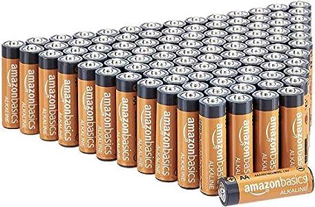 AmazonBasics - Pilas alcalinas AA de 1,5 voltios, gama Performance, paquete de 100 (el aspecto puede variar)