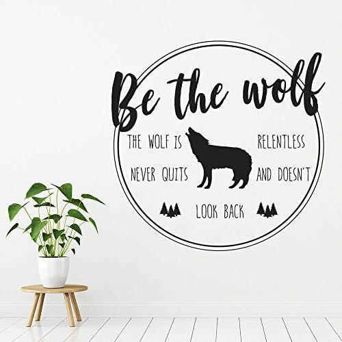 HGFDHG Cita inspiradora calcomanía de Pared es Lobo Vinilo Ventana Animal Arte Mural Dormitorio Sala de Estar Gente Cueva decoración para el hogar