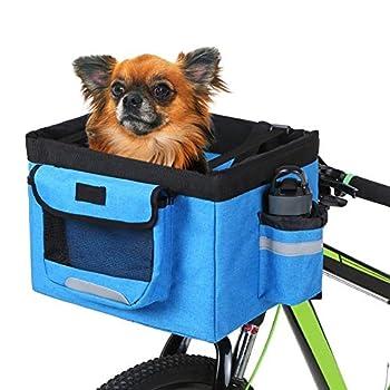 XINGJIJIJIA Solide 10 kg Charge Pliable Tissu Oxford vélo Panier Sacoche Guidon Avant Boîte Chien Chat Porte-Bycicle Accessoires for Chien raccord (Color : Blue, Size : L)