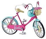 Barbie Mobilier Bicyclette pour poupée, vélo fourni avec casque bleu et panier avec des roses, jouet pour enfant, DVX55