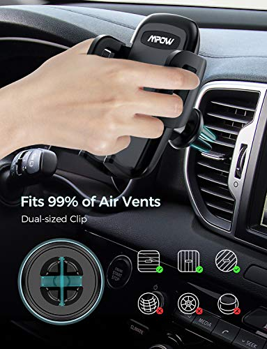 Mpow Air Vent Car Phone Holder, with One Button Release and 360 Degrees Rotation for iPhone11Pro/11/XS Max/XS/Xr/X/8/Plus/7/Plus/6/6S Plus/5S, Galaxy S20/S10/S9/S8/S7, LG, Sony, HTC, Huawei and Others