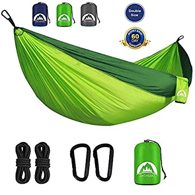 SWTMERRY Camping Hammock Portable Lightweight Double, Backpacking Hammock with Tree Straps for Backpacking, Travel, Beach, Backyard, Patio, Hiking (Fruit Green & Green)
