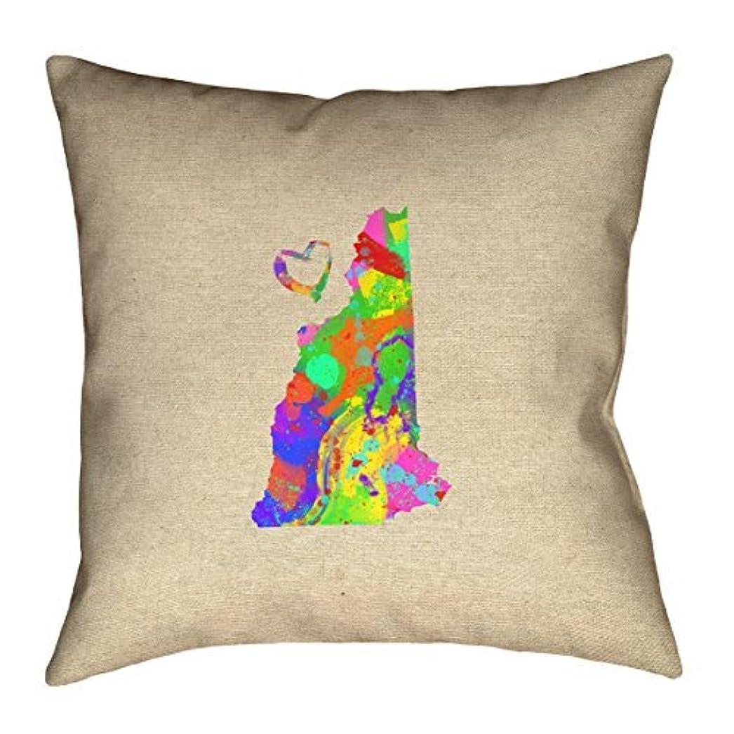 手数料ボトルネック簡単なArtVerse Katelyn Smith New Hampshire Love Watercolor 26 x 26 Pillow-Spun Polyester [並行輸入品]