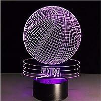 Dtcrzj Aiノベルティ3DビジュアルアクリルLedナイトライトNba Bketball Usb照明寝室のテーブルランプ7カラフルなグラデーション雰囲気ランプ - A