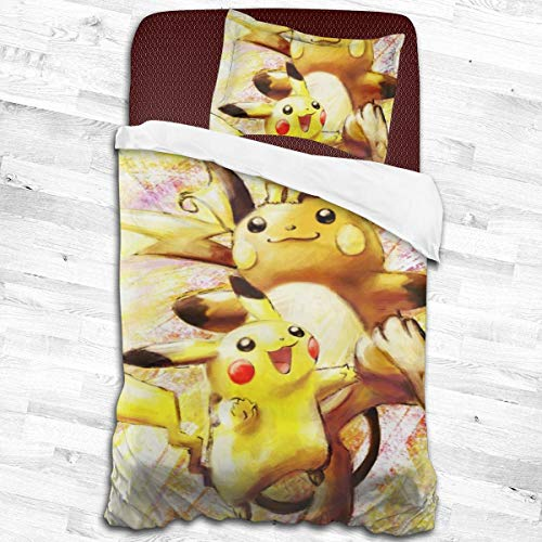 Pikachu And Raichu 2-Piece Bedding Set 53'x79' One Pillowcases And One Quilt Cover