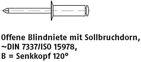 Open blindklinknagel ART 88412 blindklinknagels aluminium/st. Verz. SEKO B 3 x 10 VE=S 500 stuks