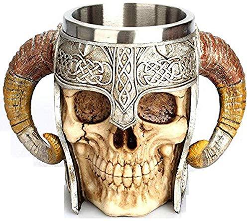 Tazza Teschio Con Elmetto - Guerriero - Manici - Corna - Cranio - Scheletro - 3D - Acciaio Inox - Resina - Boccale Birra - Horror - Gotico - Idea Regalo - Bevande - Vichinga - Medievale - Halloween