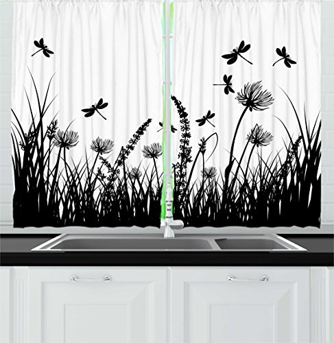 """Ambesonne Nature Kitchen Curtains, Grass Bush Meadow Silhouette with Dragonflies Flying Spring Garden Plants Display, Window Drapes 2 Panel Set for Kitchen Cafe Decor, 55"""" X 39"""", Black White"""