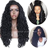 Vanessa Queen - Peluca de pelo natural, rizada, para mujer, color negro, con malla sintética, 66 cm.