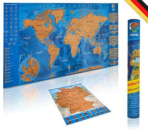*Joynez Weltkarte Zum Rubbeln in Deutsch + A4 Rubbelkarte Deutschland | XXL Landkarte Zum Freirubbeln (Poster 85 X 42cm. inkl. Geschenk-Verpackung)*